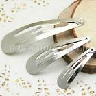 50pcs 4/5/6cm Girl Silver Snap Hair Clips Head Pins Slide Blanks DIY Accessories