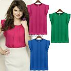 Women Sexy Short Butterfly Sleeve Chiffon Casual Shirt loose Tops Blouse 3Colors