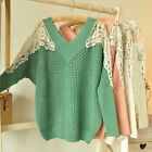 2014 New Candy Color V-neck Crochet Lace Splicing Hollow Bat Long Sleeve Sweater