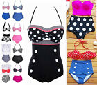 HOT FASHION CUTEST RETRO SWIMSUIT SWIMWEAR VINTAGE PIN UP HIGH WAIST BIKINI SET