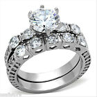 3.35ct Round 8MM CZ Silver Stainless Steel Wedding Engagement Ring Set