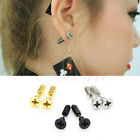 HOT Fashion 1Pair Unisex Classic Stainless Steel Fine Whole Screw Stud Earrings