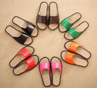 1 Pair New PU Leather Linen Room Summer Slippers
