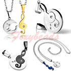 2pcs Couple Jigsaw Music Note Stainless Steel I Love You Pendant Chain Necklace
