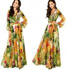 Womens V Neck Long Puff Sleeve Flowers Print Soft Chiiffon Maxi Long Party Dress