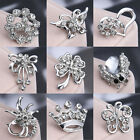 WEDDING BONQUET JEWELLERY ANIMAL CRYSTAL RHINESTONE DIAMANTE SILVER PIN BROOCH