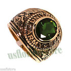 Emerald Green Stone US Army Military 18kt Gold EP Mens Ring Size 13-14