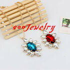 Retro Women Bib Acrylic Gem Sun Flower Bead Collar Statemen Necklace Chain