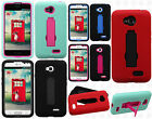 LG Optimus L70 IMPACT Hard Rubber Case Phone Cover Kickstand + Screen Protector