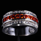 Classic Men's Jewelry Red Garnet 10KT White Gold Filled Band Ring Size 7-13