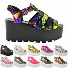 Ladies Women Wedge Gladiator Chunky Strappy Sandals Platform Flatform Shoes Size