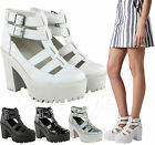 Ladies Womens Chunky Cleated Sole Cut Out High Heel Platform Sandals Shoes Size