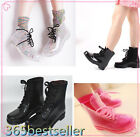Womens Ladies Flat Clear Festival Jelly Wellies Low Ankle Rain Boots Shoes