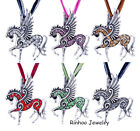 6 Color Retro Necklace Flying Pegasus Tibet Silver Crystal Rhinestone Pendant