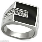 Flat Black Top  & Crystal Stones Silver Stainless Steel Mens Ring