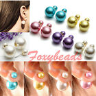 Pair Double Face Colors Faux Pearl Earring Fake Cheater Button Ear Stud HOT Gift