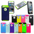 For iPhone 5S 5C 4S Black Rugged Rubber Matte Heavy Duty Hybrid Hard Case Cover