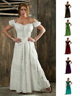 RENAISSANCE PIRATE PEASANT WENCH COSTUME MEDIEVAL BOHO 100%COTTON GOWN SUN DRESS