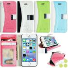 caseen Apple iPhone 5 5S 5G Glitter Leather ID Card Flip Stand Wallet Case Cover