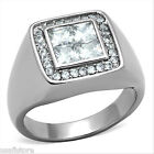 Mens 4x4 MM Square Ctut Stone Silver Stainless Steel Ring