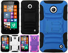 For Nokia Lumia 635 HYBRID KICKSTAND Rubber Silicone Case Phone Cover