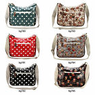 Oilcloth Polka Dot OWL Messenger Cross Body Satchel Shoulder Bag Double Zipper