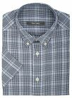 Ex Store Window Pane Check Short Sleeved Shirt with Breast Pocket Blue