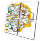 Illustration Funky Abstract  MULTI CANVAS WALL ART Picture Print VA