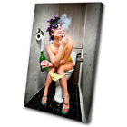 Urban Smoking Girl Toilet  SINGLE CANVAS WALL ART Picture Print VA