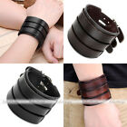 Men Women 3-Layer Belt Cow Leather Wristband Cuff Bangle Bracelet Punk Fashion