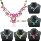 Fashion New Design Womens Gold P Metal Clear Rhinestone Flower Resin Necklace
