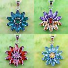 Flower Lady Amethyst Garnet Blue & Green Topaz Gemstone Silver Pendant Necklace