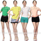 Women Hot Summer Slim Hollow Out Lace Chiffon Short Sleeve T-Shirt Top Blouse