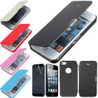 Thin Slim Chrome Magnetic Flip PU Leather Case For iPhone 5 & ★Screen Protector★