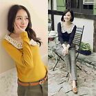 Womens Casual Blouse Lace Doll Collar Bottoming Shirt Slim Long Sleeve Lady Tops
