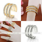 Fashion Womens Punk Metal Crystal Beads Above Knuckle Finger Ring Band Midi Ring