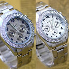 Stainless steel Silver Rose Crystal Gemstone Decorated Mens Ladies Wrist Watch