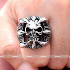Punk Men's Cool Heavy Biker Dragons Claw Skull 316L Stainless Steel Ring Gift
