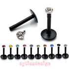 16ga Acrylic CZ Crystal Monroe Bar Labret Lip Ring Stud Barbell Body Piercing