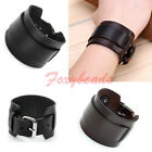 Unisex Punk Adjustable Wide Genuine Leather Belt Bracelet Bangle Cuff Wristband