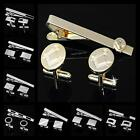 Personalized Engravable Wedding Shirt Suit Mens Cufflinks Tie Bar Clip Clasp Set
