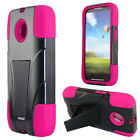 For Motorola Moto E Advanced Layer HYBRID KICKSTAND Rubber Protector Phone Case
