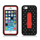 For iPhone 5 5S SE HYBRID IMPACT KICK STAND Diamond Case Cover + Screen Guard