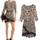 Sexy Women Crew Neck Leopard Print Party Tunic Skater Waist Mini Dress Sundress