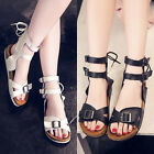 Ladies ankle belt buckle flats lace up Roman sandals retro soft clog slippers