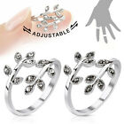 Adjustable Rhodium Plated Leaves with Multi Paved Gems Mid-Ring or Toe Ring