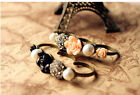 Sell like hot cakes Retro style rose crystal pearl  Three rings Ring