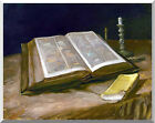 Still Life with Open Bible Vincent van Gogh Stretched Repro Christian Art Print
