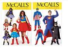 McCall's 7001 7002 Sewing Pattern to MAKE Superhero Costumes- Adults & Children