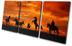 Animals Horses Cowboy Sunset TREBLE CANVAS WALL ART Picture Print VA